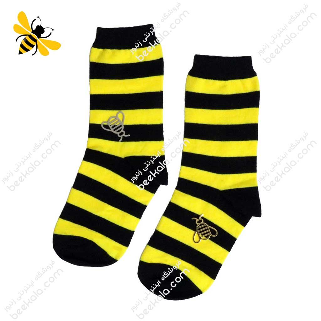جوراب ساقدار راه راه زنبوری کد 1049