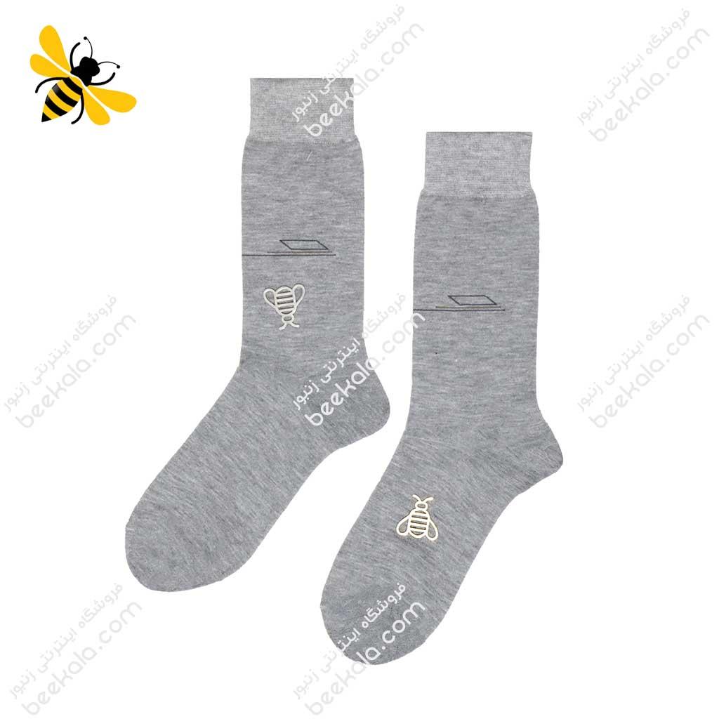 جوراب ساقدار مردانه خاکستری کد 1096