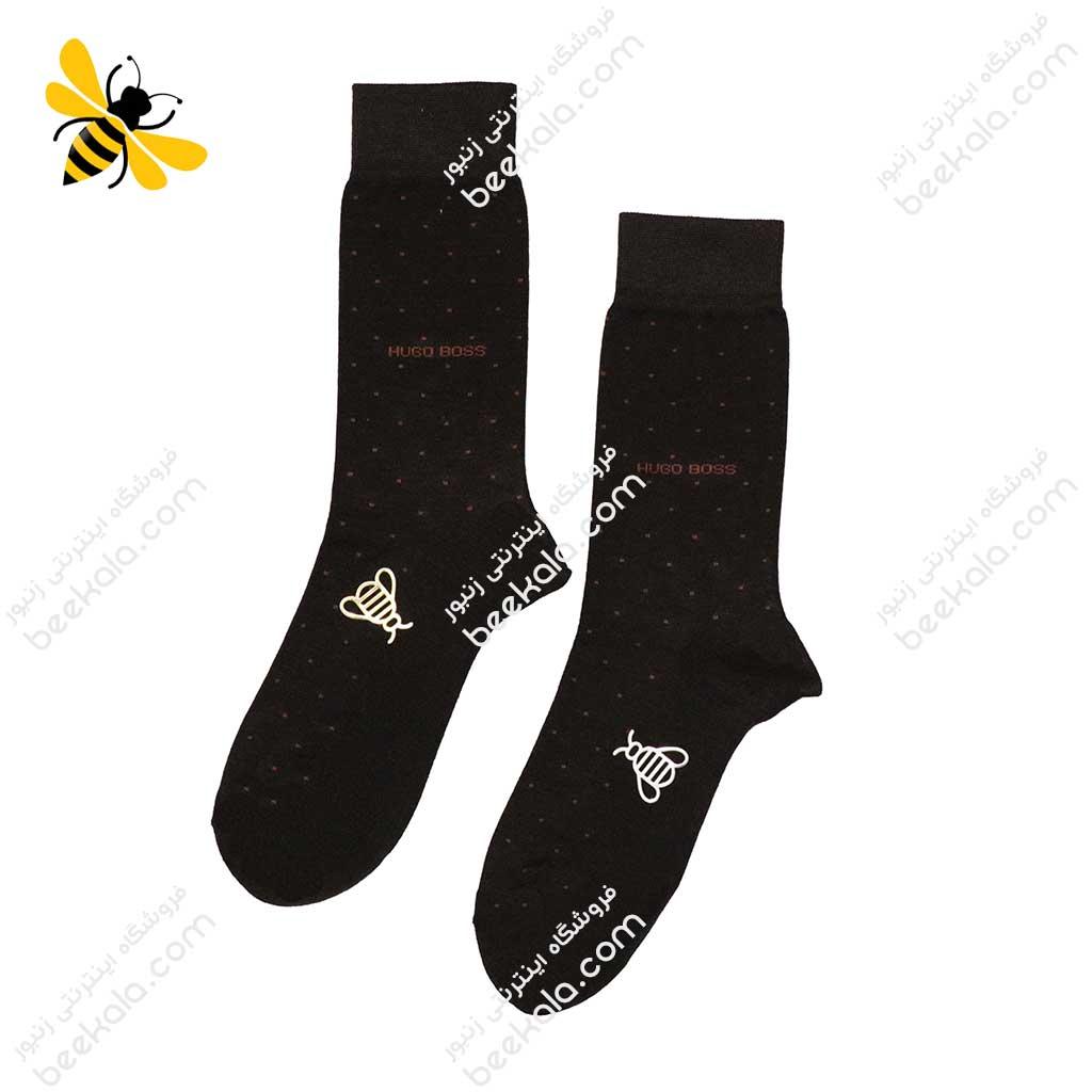 جوراب ساقدار مردانه خالدار قهوهای کد 1114