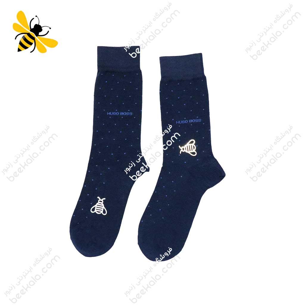 جوراب ساقدار مردانه خالدار سرمهای کد 1116
