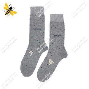 جوراب ساقدار مردانه خالدار خاکستری کد ۱۱۲۰