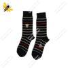جوراب ساقدار مردانه راه راه مشکی کد ۱۱۲۱