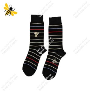 جوراب ساقدار مردانه راه راه مشکی کد 1121