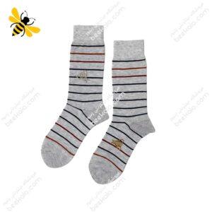 جوراب ساقدار مردانه راه راه خاکستری کد ۱۱۲۲