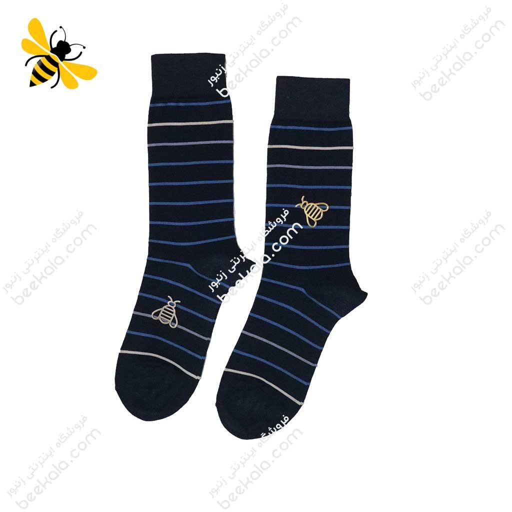 جوراب ساقدار مردانه راه راه سرمهای کد 1123