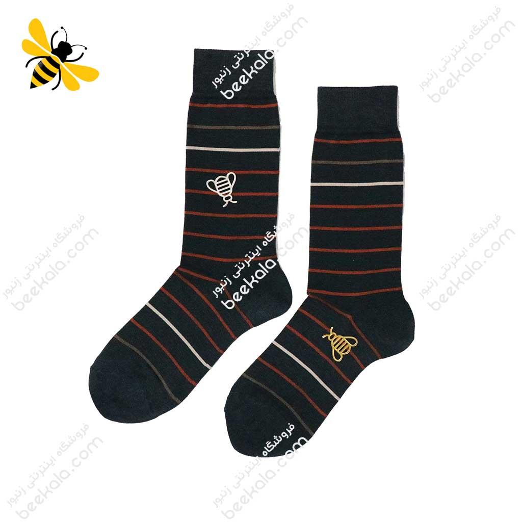 جوراب ساقدار مردانه راه راه یشمی کد 1127