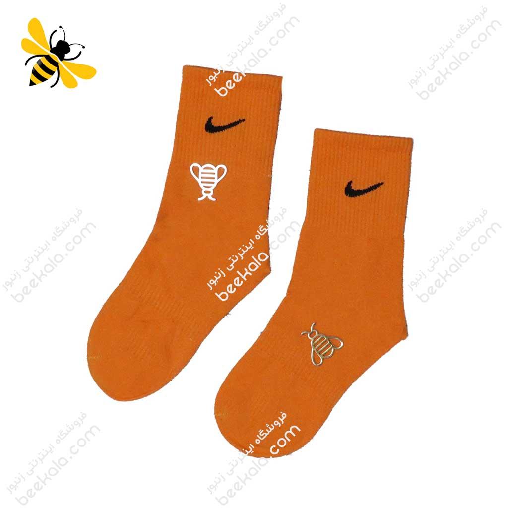جوراب ساقدار ورزشی نارنجی کد 1199
